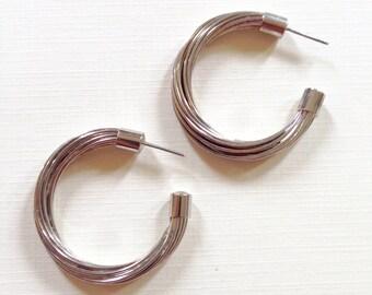 Vintage Silver Toned Hoop Earrings . Era. 1970's . Wired Earring