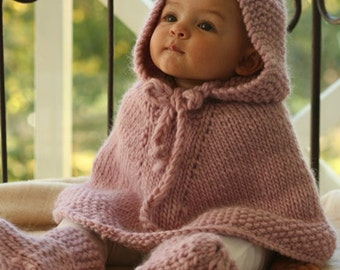 Baby poncho with hood, hand knitted 100% wool, baby, children (not the booties), gift idea