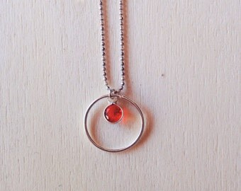 Circle necklace with cubic zirconia's minimalist necklace color•
