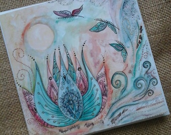 Lotus card,spiritual card,art card,enlightenment,lotus flower,art,card,gift,pagan,Buddha,uplifting card,butterfly card,water colour,gift,