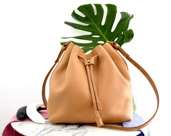 Leather Bucket Bag Drawstring Minimalist Crossbody Camel Leather Molly Bag