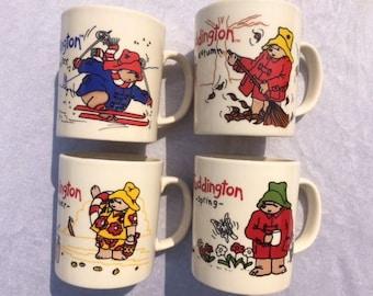 Paddington Bear Set Of 4 Mugs Paddington Mugs Bear Mugs Four Seasons Mugs Vintage Paddington Bear Mugs