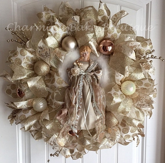 Christmas Angels Gold Mesh Wreaths Christmas Wikii