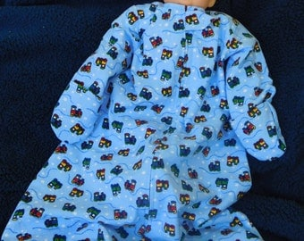 FLANNEL SLEEP SACK -- Blue with Choo Choo trains  - available S,M,L or X-large, with or without mittens