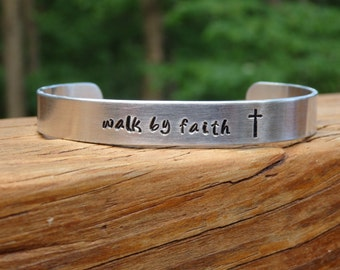 Hand Stamped Cuff Bracelet Walk by Faith, Cross Bracelet, Christian Jewelry