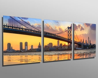 Metal Print - Ben Franklin Bridge, Philadelphia - 3 Panel split, Triptych - Metal wall art on HD aluminum prints for decor & interior design