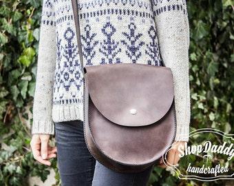 Round bag, Leather Bag, Shoulder Bag, Leather Purse, Women Bag, Custom Leather Bag, Chocolate Color