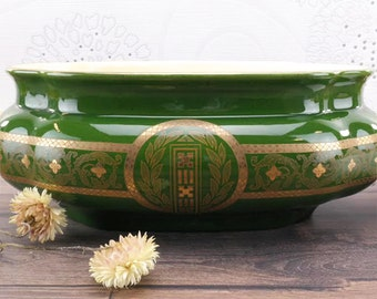 Garden Planter Art Nouveau Sarreguemines 1890 Green and Gold - Art nouveau decoration - Ceramic planter - Table planter - French decor