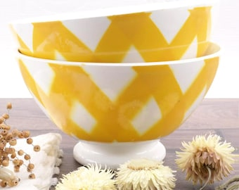 Great bowls Cafe au Lait French Sarreguemines Digoin 1970 yellow and white - French Breakfast Bowls Sarreguemines Digoin 1970 yellow