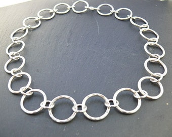 Hallmarked Linked Hammered Necklace