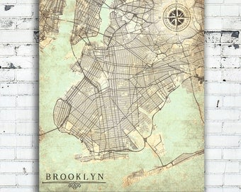 BROOKLYN NY Canvas Print Brooklyn New York City Nyc Brooklyn New York City Vintage map Wall Art poster map Vintage retro old antique Nyc map