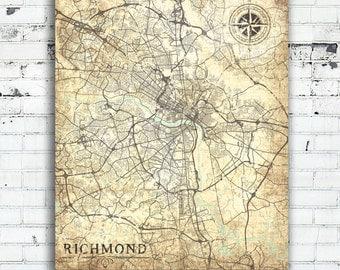 RICHMOND VA Canvas Print Virginia VA Richmond Vintage map Richmond Va City Plan Vintage map Wall Art poster retro old Richmond Va map decor