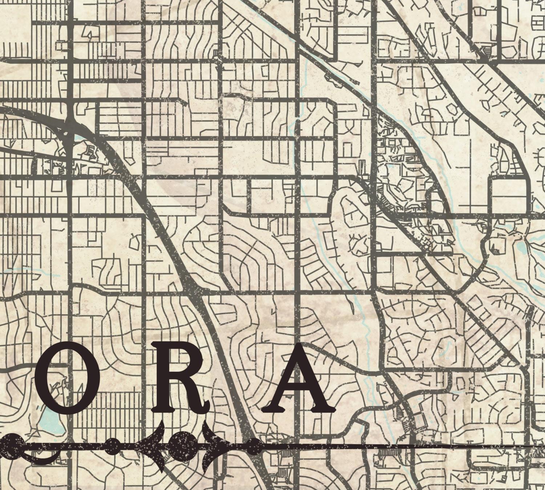 Aurora Canvas Print Co Colorado Vintage Map Aurora City