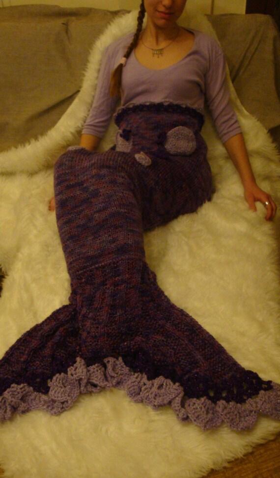 Knitting Pattern For Mermaid Tail Blanket : Items similar to knitted mermaid tail blanket on Etsy