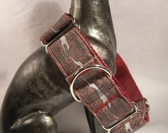 """Jane Walker Running Greyhound Design Martingale Collar  1.5"""" Wide Burgandy & Grey"""