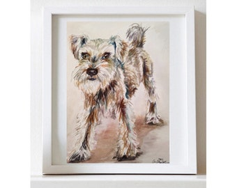 Custom Dog Pet Portrait Watercolor Schnauzer Animal Print