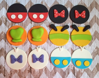 12 Fondant Mickey and friends toppers *ONE dozen ready to ship now!