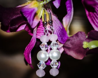 Rose Orchids - Dangle Earrings