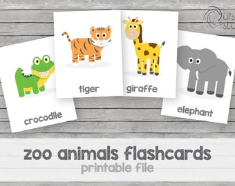 Printable kid's zoo animals flashcards, english