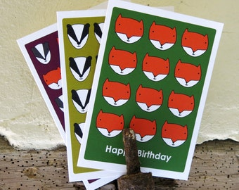 Set of 3 Woodland Animals A6 Birthday cards