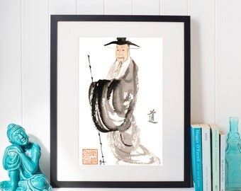 Zen brush, watercolor painting, zen art, Wall decorate, House warming, Feng shui, Water color, figure, Buddhist, Japanese