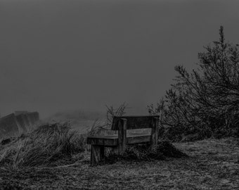 A Bench with a View.  An eerie and mysterious fine art photographic print taken at Bawdsey on the Suffolk coast.