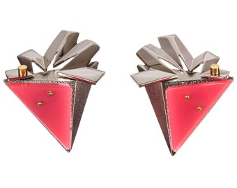 Balenciaga Pink Silver and Gold Geometric Earrings