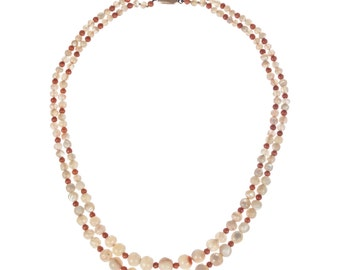 Red Coral and Mother of Pearl Bead Necklace