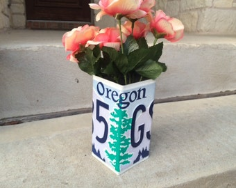 Oregon License Plate Pencil Holder Vase Desk Organizer - Pen Holder