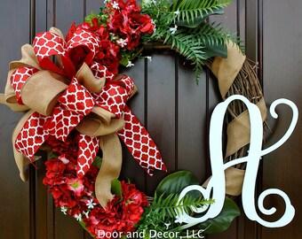 """Hydrangea wreath-Summer Flowers-Grapevine Wreath-Monogram-22"""" Wreath-Red Hydrangeas-Year round wreath~front door wreaths~wreath for door"""