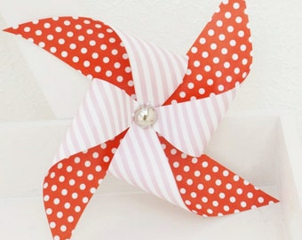 Pack of 3 Red Polka dots pin striped Paper Pinwheels   Party decor  Paper pinwheels, Garden Party Decor.