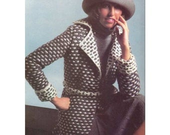 Crochet Pattern for Women's Sweater-Jacket with Belt - PDF Pattern Download -  Vintage 1970's