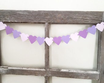 Heart Garland - Purple Ombre