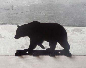 Bear Silhouette Key Hook Rack - metal wall art
