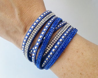 SALE! Royal Blue Double Wrap Rhinestone/Suede Adjustable Bracelet - 12 colors to choose from!