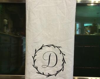 Custom inital tea towel