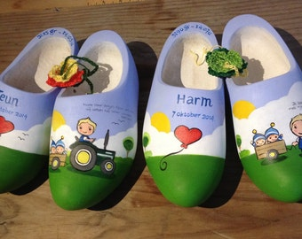 Teun & Harm, farm birth nuggets personalized hand-painted clogs name for baptism, birth, birthday.