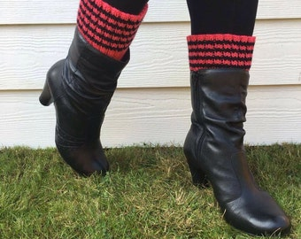 Striped boot toppers, coral boot cuffs, welly toppers, welly warmers, teens stripey festival wear, boot socks, bright ankle warmers