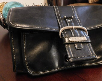 Purse Rosetti Black Leather Top-Handled with Buckle