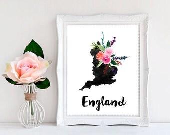 England Map Map of England England Print English posters England wall art English Decor Printable Map Map Artwork Map Printable Digital Map