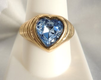 Blue Faceted Glass Heart Ring Size 10