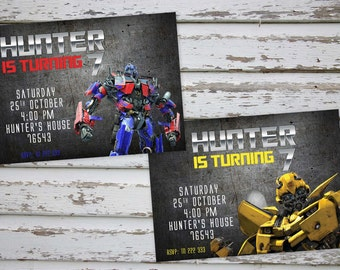 Transformers Birthday Party Invitation Optimus Prime Invitation Bumblebee Invitation Printable with Free Matching Thank You Card