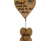 Personalised Dogs Leave Paw Prints on Your Heart Hanging Decoration Gift Personalized with Dogs Names
