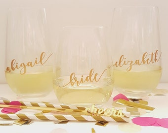 DIY Bridal Party Glass Decal sticker - Ideal for traditional Wine Glasses or Stemless glasses