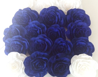 10 giant crepe paper flowers Royal blue Bachelorette bridal boy baby shower rose Wall arch decor wedding CENTERPIECE Photo backdrop buffet