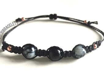 Milky Black/White Rose Gold Beaded adjustable Bracelet BLACK