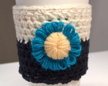Travel Mug Cozy, Ivory and Black Cosy, Coffee Mug Cosie Accessory, Gift Idea, Crochet Take Out Cup Wrap Cozy, Hot Cold Drink Cozy (CZ16)