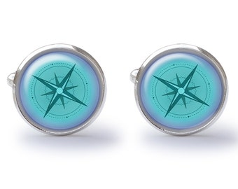 Blue Nautical Compass Cufflinks - Nautical Cuff Links - Sailing Cufflink (Pair) Lifetime Guarantee (S0347)