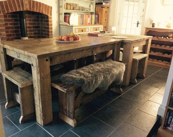 British Handmade Rustic Reclaimed Solid Wooden Dining Table Shaby Chic Vintage Farmhouse Style Any Size Chairs Benches Pews