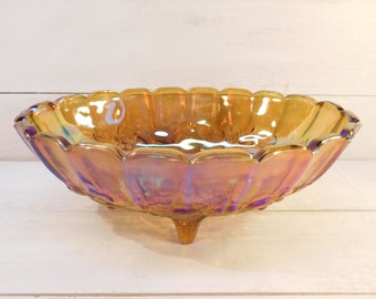 Indiana Carnival Glass Footed Fruit Bowl, Scalloped Edge, Centerpiece Bowl
